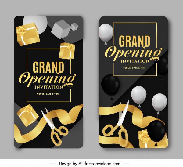 grand opening card templates luxury shiny balloon ribbons