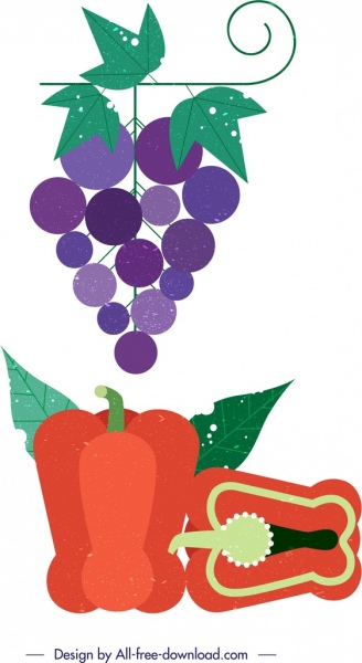 grapes pepper vegetable fruit icons colorful retro design