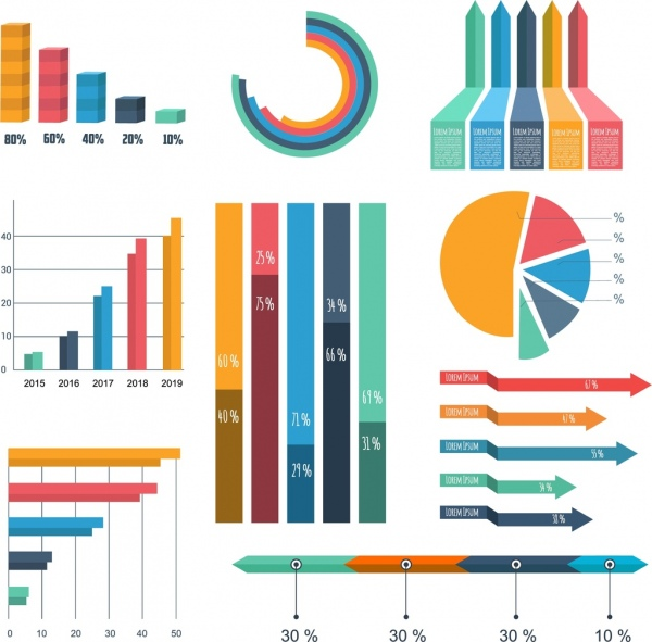 graph design elements various multicolored shapes free vector in