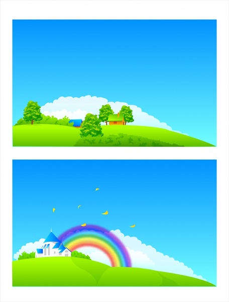 hill background sets clouds rainbow buildings icons decor