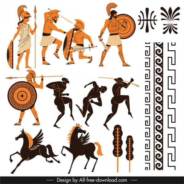 greek design elements classical symbols pattern elements sketch