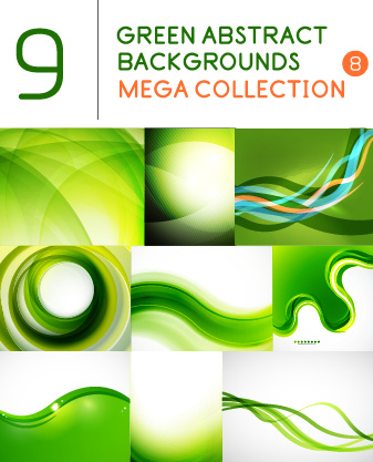 green abstract background art vector set