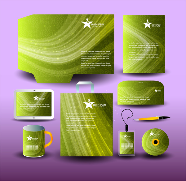 green abstract corporate identity template