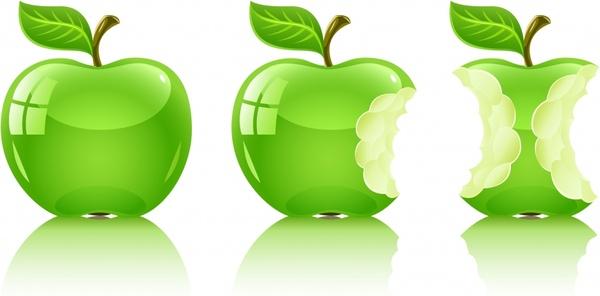 apple icons shiny modern green design bite marks