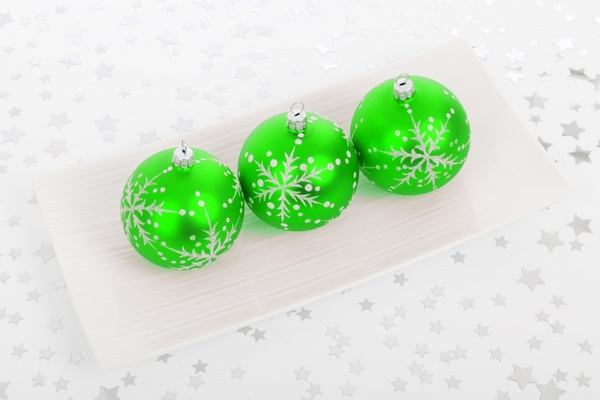 green bauble decorations