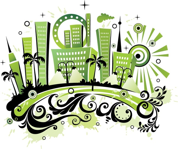 city background curves ornament green black design