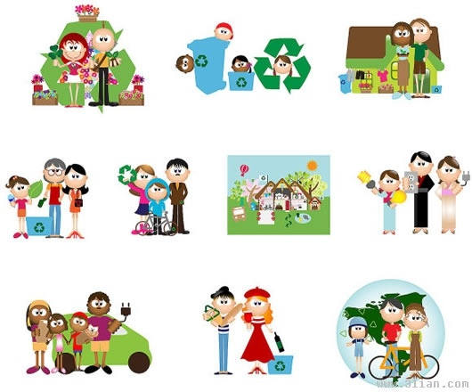 ecological design elements family icons cartoon characters design