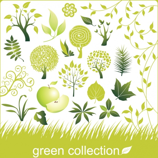 nature design elements green apple tree leaf icons