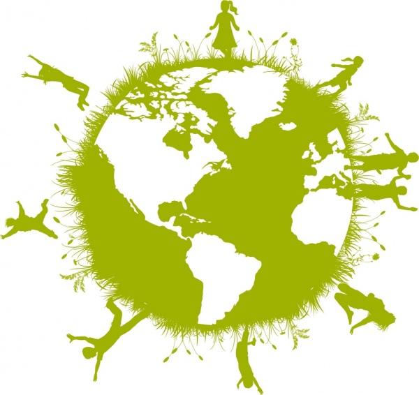 green earth concept joyful human on sphere design