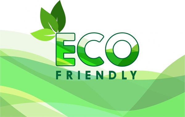 green eco banner leaves and curves design