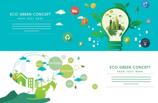 Green ecology banners horizontal design lightbulb globe