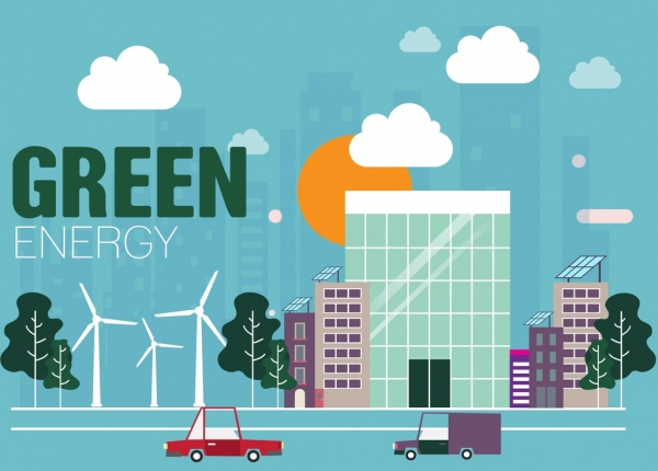 green energy banner buildings windmills icons decoration
