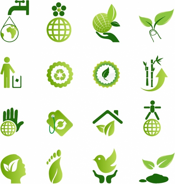 green environmental icons free vector in adobe illustrator ai   ai    encapsulated postscript maple leaf vector art banana leaf vector art