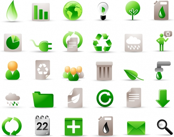 ecology icons collection modern flat green grey shapes