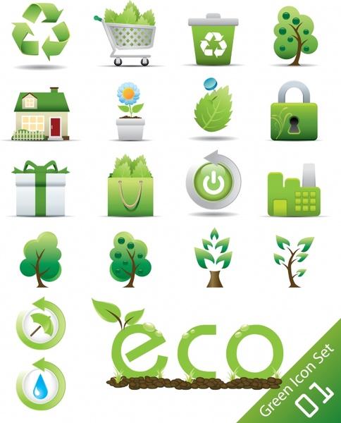 ecology icons green enviromental protection symbols sketch