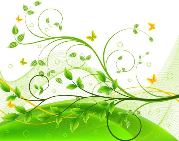 nature background green trees butterflies icons curves decor