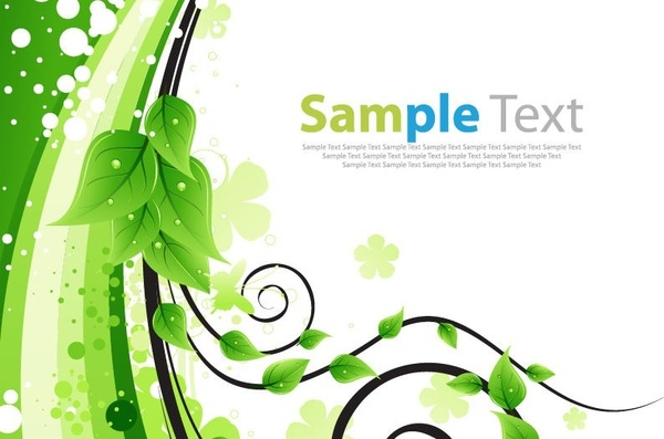 Green Floral Greeting Card Vector Illustration