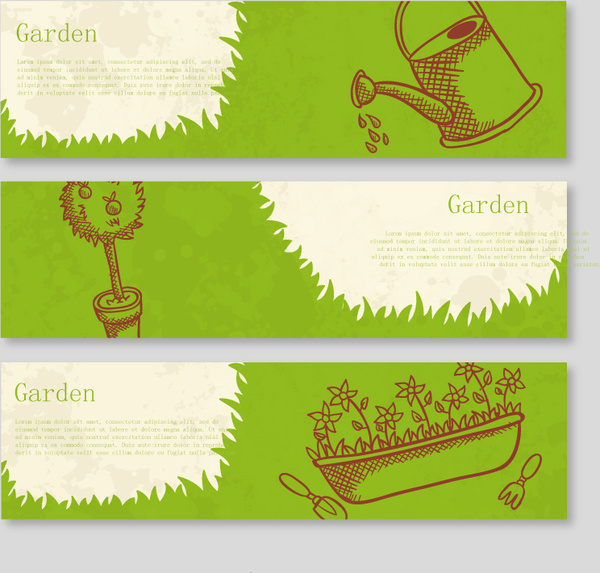 Green Garden Banner Vector Free Vector In Adobe Illustrator Ai Ai Vector Illustration Graphic Art Design Format Format For Free Download 4 20mb