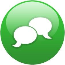 Green globe chat bubble
