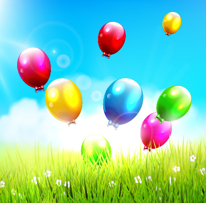green grass and colored balloons background