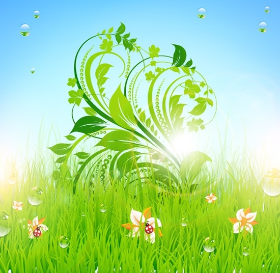 nature background modern colorful shiny grass leaves decor