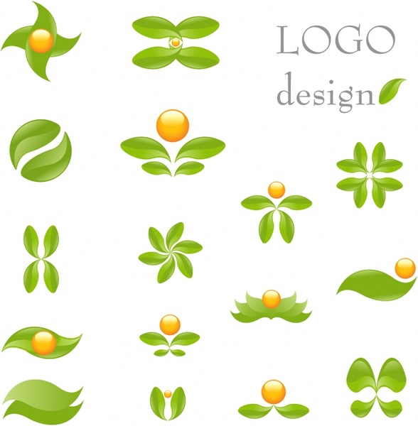leaf logo templates flat green design curves ornament