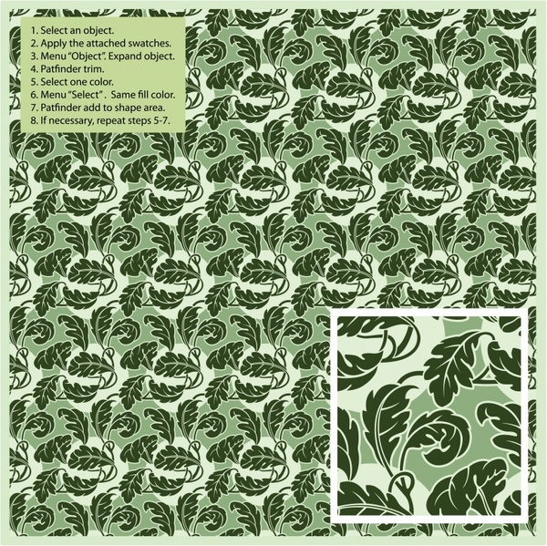 leaf pattern template classical green repeating symmetry