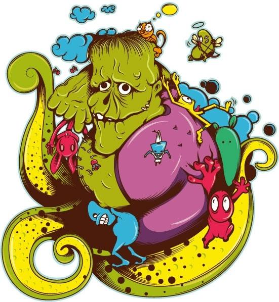 Green Monster Graffiti Vector Free Vector In Adobe Illustrator Ai