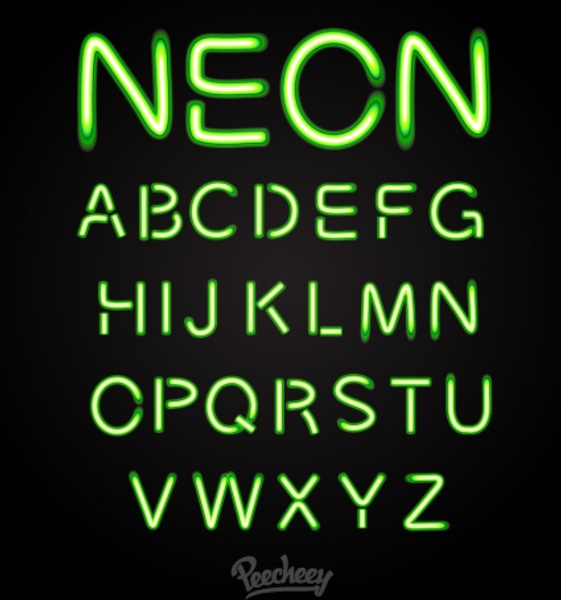 Green Neon Font Free Vector In Adobe Illustrator Ai