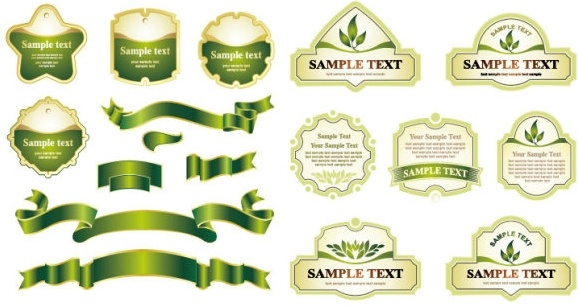 green ribbon label vector