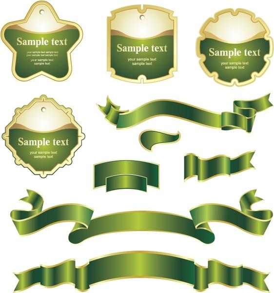 label ribbon templates shiny yellow green design