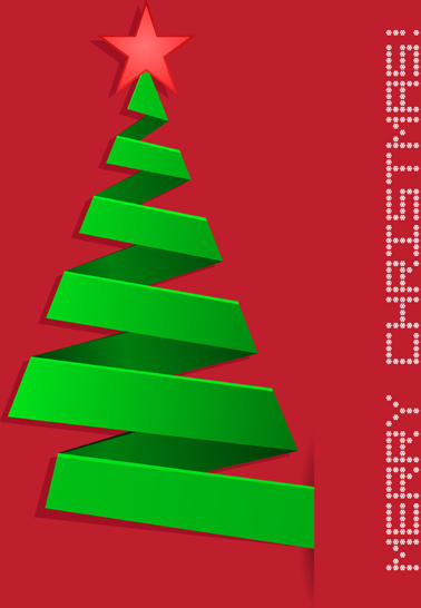 green ribbon xmas tree with red background