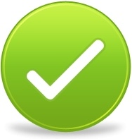 Green round tick sign