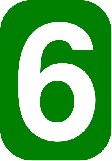Green Rounded Rectangle With Number 6 Clip Art Free Vector -9013