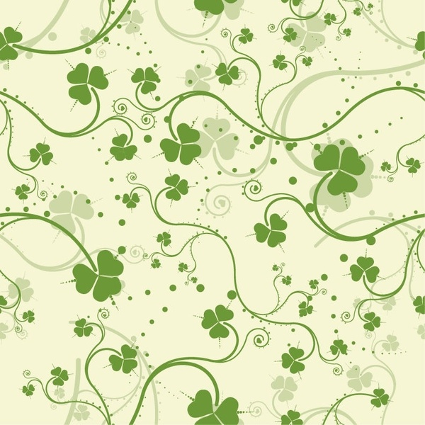Green Seamless Floral Vector Background