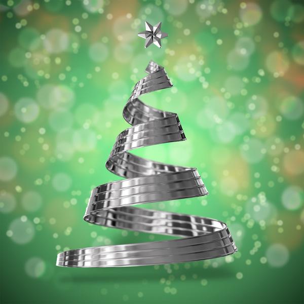 green steel christmas tree