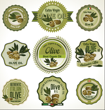 green style olive oil badges vector