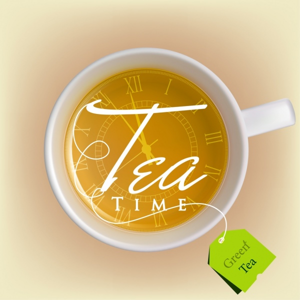 green tea advertisement white cup calligraphy clock icon