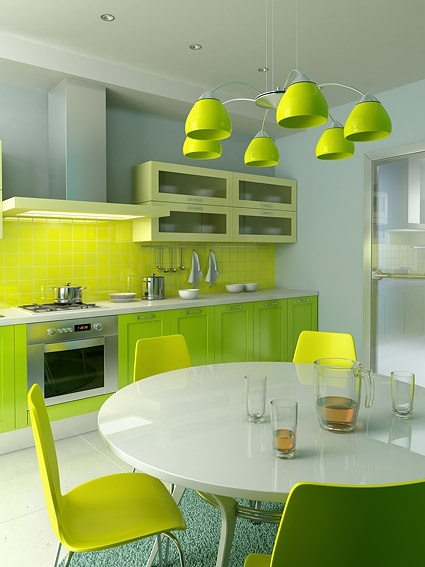 green tone of the kitchen picture