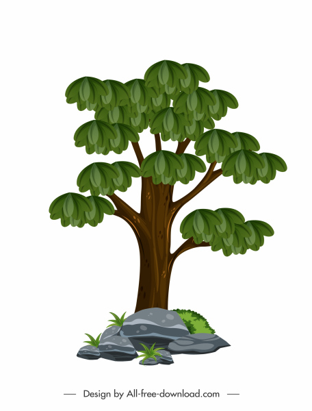 green tree icon colored flat sketch