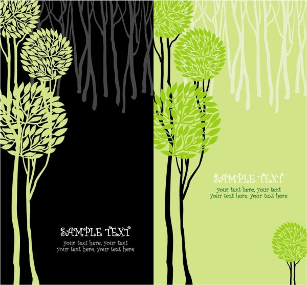 green tree illustration series 01 vector