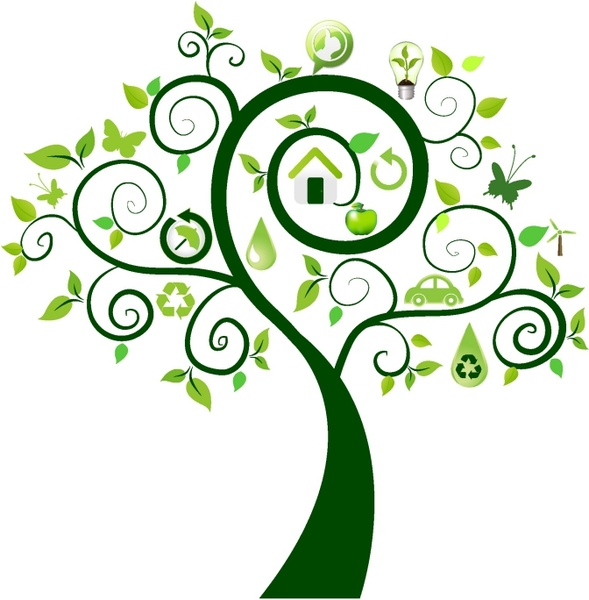 Green tree with ecology icons