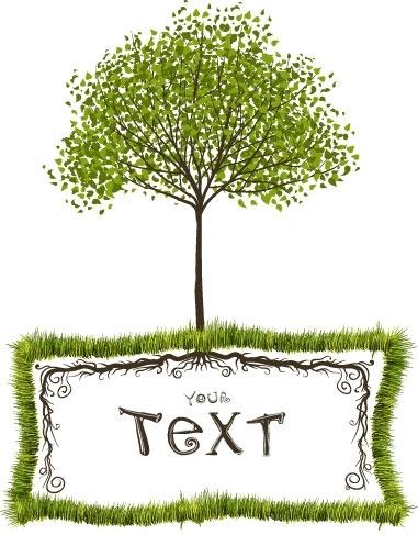 green trees vector text box