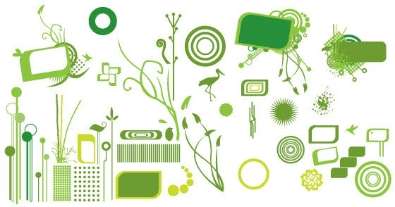 green icons collection various shaped symbol elements