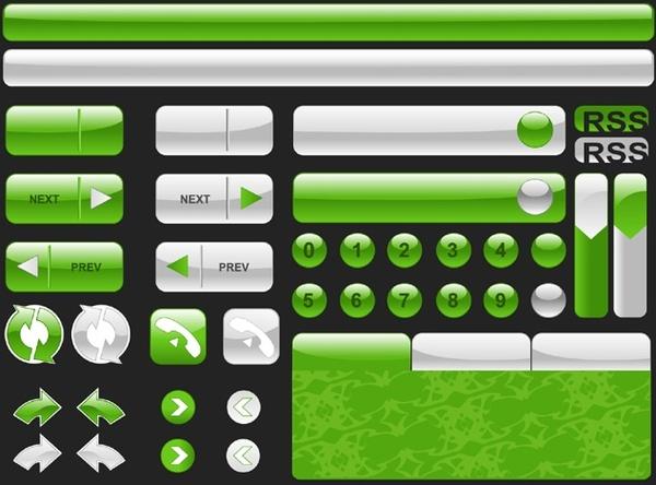 web button design elements shiny green white decoration
