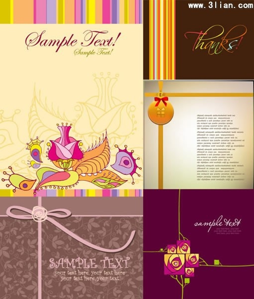 card templates classical colored calligraphic geometric flowers decor