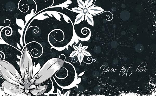 Floral Background Black White Ornament Retro Design Free Vector In
