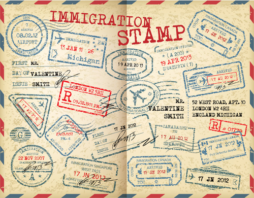 Grunge travel stamps vector graphics Free vector in Adobe