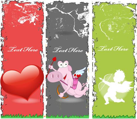 grunge valentines banners design elements