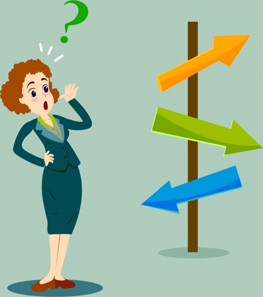 guidance direction banner arrow signpost woman icons